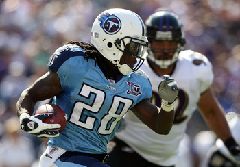 BALTIMORE - OCTOBER 05:  Chris Johnson #28 of the Tennessee Titans rushes against the Baltimore Ravens on October 5, 2008 at M&T Bank Stadium in Baltimore, Maryland.  (Photo by Nick Laham/Getty Images)