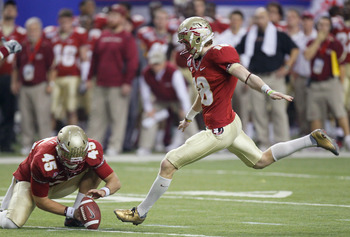 ATLANTA, GA - DECEMBER 31:  Dustin Hopkins #8 of the Florida State Seminoles against the South Carolina Gamecocks during the 2010 Chick-fil-A Bowl at Georgia Dome on December 31, 2010 in Atlanta, Georgia.  (Photo by Kevin C. Cox/Getty Images)