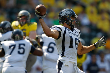 EUGENE, OR - SEPTEMBER 10:  Tyler Lantrip #16 of the Nevada Wolf Pack throws a pass against the Oregon Ducks on September 10, 2011 at the Autzen Stadium in Eugene, Oregon.  (Photo by Jonathan Ferrey/Getty Images)