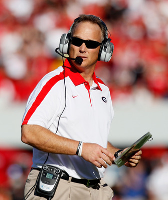 ATHENS, GA - SEPTEMBER 10:  Head coach Mark Richt of the Georgia Bulldogs looks on against the South Carolina Gamecocks at Sanford Stadium on September 10, 2011 in Athens, Georgia.  (Photo by Kevin C. Cox/Getty Images)