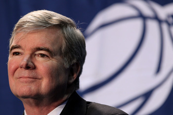 WASHINGTON - MARCH 17:  NCAA President Mark Emmert address the media during a press conference before the second round of the 2011 NCAA men's basketball tournament at the Verizon Center on March 17, 2011 in Washington, DC.  (Photo by Nick Laham/Getty Imag
