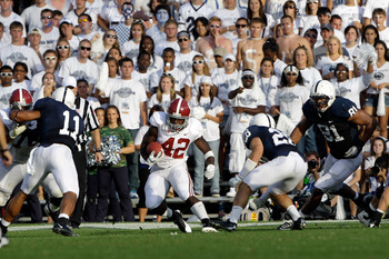 STATE COLLEGE, PA - SEPTEMBER 10:  Running back Eddie Lacy #42 of the Alabama Crimson Tide rushes the ball against the Penn State Nittany Lions during the first half at Beaver Stadium on September 10, 2011 in State College, Pennsylvania.  (Photo by Rob Ca