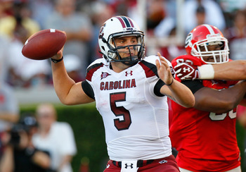 ATHENS, GA - SEPTEMBER 10:  Stephen Garcia #5 of the South Carolina Gamecocks looks to pass against the Georgia Bulldogs at Sanford Stadium on September 10, 2011 in Athens, Georgia.  (Photo by Kevin C. Cox/Getty Images)