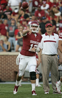 NORMAN, OK - SEPTEMBER 03:   Quarterback Landry Jones warms up before the game against the Tulsa Hurricanes September 3, 2011 at Gaylord Family-Oklahoma Memorial Stadium in Norman, Oklahoma.  Oklahoma defeated Tulsa 47-14.  (Photo by Brett Deering/Getty I