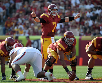 LOS ANGELES, CA - SEPTEMBER 10:  Matt Barkley #7 of the USC Trojans calls out a play before a snap against the Utah Utes at Los Angeles Memorial Coliseum on September 10, 2011 in Los Angeles, California.  (Photo by Harry How/Getty Images)