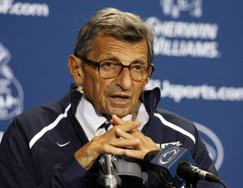 STATE COLLEGE, PA - SEPTEMBER 3:  Penn State head coach Joe Paterno addresses the media after the game against the Indiana State Sycamores on September 3, 2011 at Beaver Stadium in State College, Pennsylvania.  (Photo by Justin K. Aller/Getty Images)