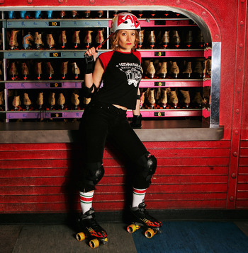 NEW YORK - NOVEMBER 10:  Andrea Dearborn, aka Baby Ruthless, poses for a portrait during the last practice before their exhibition bout November 10, 2004 in New York City. Gotham Girls Roller Derby was founded in October 2003, and since then members of th