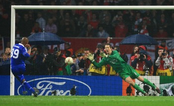 MOSCOW - MAY 21:  Edwin Van der Sar of Manchester United saves the penalty attempt from Ncolas Anelka of Chelsea to win during the UEFA Champions League Final match between Manchester United and Chelsea at the Luzhniki Stadium on May 21, 2008 in Moscow, R