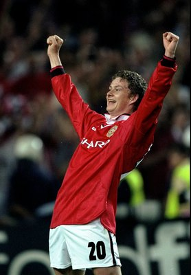 26 May 1999:  Ole Gunnar Solskjaer celebrates the final whistle and victory for Manchester United in the European Champions League Final against Bayern Munich in the Nou Camp Stadium, Barcelona, Spain. Solskjaer scored the second goal for United as theywo