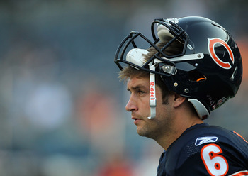 CHICAGO, IL - SEPTEMBER 01: Jay Cutler #6 of the Chicago Bears participates in warm-ups before a preseason game against the Cleveland Browns at Soldier Field on September 1, 2011 in Chicago, Illinois. (Photo by Jonathan Daniel/Getty Images)