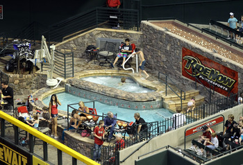 PHOENIX, AZ - JUNE 03:  General view of the Chase Field 'Ride Now' pool during the Major League Baseball game between the Washington Nationals and the Arizona Diamondbacks on June 3, 2011 in Phoenix, Arizona.  The Diamondbacks defeated the Nationals 4-0.