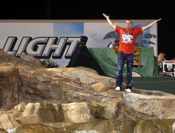 ANAHEIM, CA - OCTOBER 22:  A fan runs out to the rock pile in the outfield during Game Five of the ALCS during the 2009 MLB Playoffs between the Los Angeles Angels of Anaheim and the New York Yankees at Angel Stadium on October 22, 2009 in Anaheim, Califo