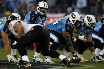 NASHVILLE, TN - JANUARY 10:  Quarterback Kerry Collins #5 of the Tennessee Titans waits for the ball from center Leroy Harris #64 in the first half against the Baltimore Ravens during the AFC Divisional Playoff Game on January 10, 2009 at LP Field in Nash
