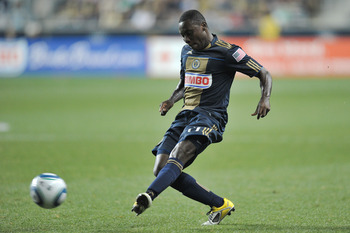 CHESTER, PA - AUGUST 13: Freddy Adu #11 of the Philadelphia Union kicks the ball during the game against FC Dallas at PPL Park on August 13, 2011 in Chester, Pennsylvania. The game ended 2-2. (Photo by Drew Hallowell/Getty Images)