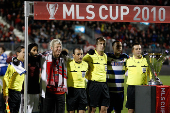 TORONTO, ON - NOVEMBER 21:  Captain Pablo Mastroeni #25 (2nd L) of the Colorado Rapids and captain Daniel Hernandez #2 (2nd R) of FC Dallas smile with the referees before starting the first half of the 2010 MLS Cup match at BMO Field on November 21, 2010