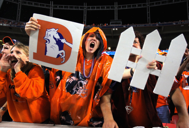 DENVER, CO - SEPTEMBER 12:  Fans support the Denver Broncos defense as they face the Oakland Raiders at Sports Authority Field at Mile High on September 12, 2011 in Denver, Colorado.  (Photo by Doug Pensinger/Getty Images)