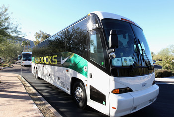 SCOTTSDALE, AZ - JANUARY 07:  The Oregon Ducks bus arrives to Media Day for the Tostitos BCS National Championship Game at the JW Marriott Camelback Inn on January 7, 2011 in Scottsdale, Arizona.  (Photo by Christian Petersen/Getty Images)
