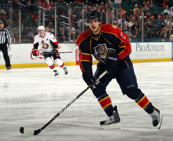 SUNRISE, FL - MARCH 10:  Mike Santorelli #13 of the Florida Panthers skates against the Ottawa Senators at the BankAtlantic Center on March 10, 2011 in Sunrise, Florida.  (Photo by Bruce Bennett/Getty Images)