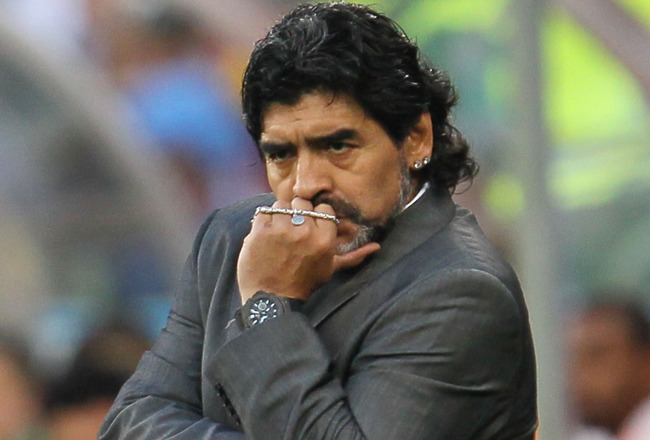 CAPE TOWN, SOUTH AFRICA - JULY 03:  Diego Maradona head coach of Argentina looks on dejected during the 2010 FIFA World Cup South Africa Quarter Final match between Argentina and Germany at Green Point Stadium on July 3, 2010 in Cape Town, South Africa.