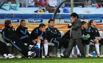 CAPE TOWN, SOUTH AFRICA - JULY 03:  Diego Maradona head coach of Argentina looks dejected  during the 2010 FIFA World Cup South Africa Quarter Final match between Argentina and Germany at Green Point Stadium on July 3, 2010 in Cape Town, South Africa.  (P