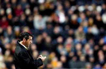 HULL, ENGLAND - DECEMBER 12:  Phil Brown manager of Hull during the Barclays Premier League match between Hull City and  Blackburn Rovers at the KC Stadium on December 12, 2009 in Hull, England.  (Photo by Ross Kinnaird/Getty Images)