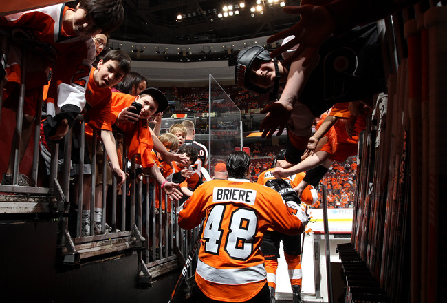 PHILADELPHIA, PA - APRIL 26:  Danny Briere #48 of the Philadelphia Flyers greets fans as he walks to the ice to warm up prior to Game Seven of the Eastern Conference Quarterfinals against the Buffalo Sabres during the 2011 NHL Stanley Cup Playoffs at Well