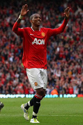 MANCHESTER, ENGLAND - AUGUST 28:  Ashley Young of Manchester United celebrates after scoring his second goal during the Barclays Premier League match between Manchester United and Arsenal at Old Trafford on August 28, 2011 in Manchester, England.  (Photo