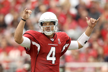 GLENDALE, AZ - SEPTEMBER 11:  Quarterback Kevin Kolb #7 of the Arizona Cardinals calls a play during the NFL season opening game against the Carolina Panthers at the University of Phoenix Stadium on September 11, 2011 in Glendale, Arizona. The Carindals d