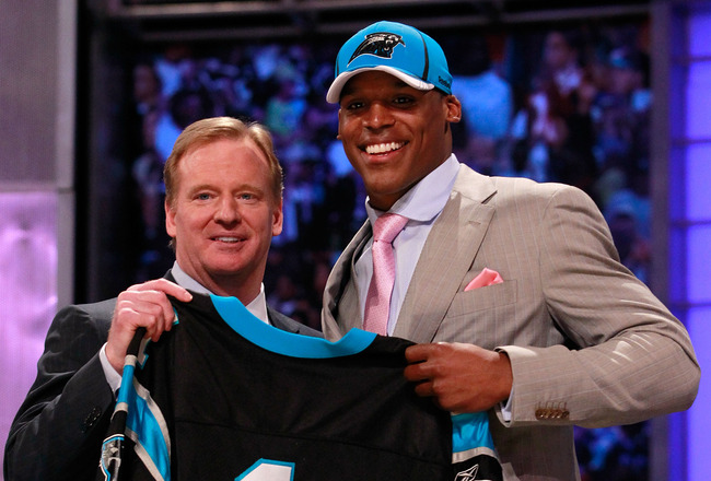 NEW YORK, NY - APRIL 28:  NFL Commissioner Roger Goodell poses for a photo with Carolina Panthers #1 overall pick Cam Newton from the UNiversity of Auburn during the 2011 NFL Draft at Radio City Music Hall on April 28, 2011 in New York City.  (Photo by Ch