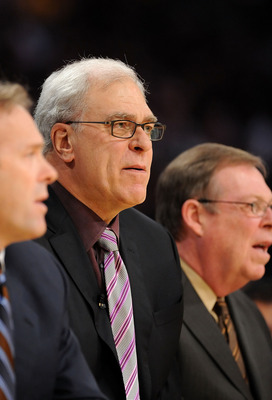 LOS ANGELES, CA - DECEMBER 25:    Head coach Phil Jackson of the Los Angeles Lakers looks on during the game against the Boston Celtics at Staples Center on December 25, 2008 in Los Angeles, California.  The Lakers defeated the Celtics 92-83.  NOTE TO USE