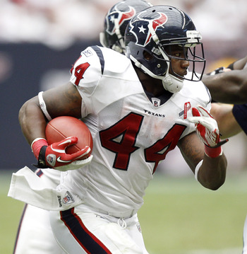 HOUSTON - SEPTEMBER 11:  Running back Ben Tate #44 of the Houston Texans rushes against the Indianapolis Colts at Reliant Stadium on September 11, 2011 in Houston, Texas. The Texans won 34-7.  (Photo by Bob Levey/Getty Images)