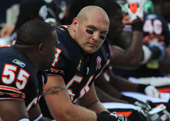 CHICAGO, IL - SEPTEMBER 11: Brian Urlacher #54 of the Chicago Bears rests on the bench during a game against the Atlanta Falcons at Soldier Field on September 11, 2011 in Chicago, Illinois. The Bears defeated the Falcons 30-12. (Photo by Jonathan Daniel/G