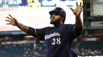HOUSTON, TX - AUGUST 07: Ptince Fielder #28 of the Milwaukee Brewers gestures to the bench after scoring in the fifth inning against the Houston Astros at Minute Maid Park on August 7, 2011 in Houston, Texas. (Photo by Bob Levey/Getty Images)