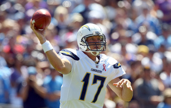 SAN DIEGO, CA - SEPTEMBER 11:  Philip Rivers #12 of the San Diego Chargers throws the ball against the Minnesota Vikings during their season opener on September 11, 2011 at Qualcomm Stadium in San Diego, California. (Photo by Donald Miralle/Getty Images)