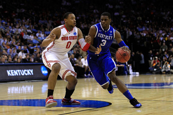 NEWARK, NJ - MARCH 25:  Terrence Jones #3 of the Kentucky Wildcats drives against Jared Sullinger #0 of the Ohio State Buckeyes during the first half of the east regional semifinal of the 2011 NCAA Men's Basketball Tournament at the Prudential Center on M