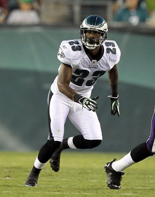 PHILADELPHIA, PA - AUGUST 11:  Dominique Rodgers-Cromartie #23 of the Philadelphia Eagles defends in action the Baltimore Ravens during their pre season game on August 11, 2011 at Lincoln Financial Field in Philadelphia, Pennsylvania.  (Photo by Jim McIsa