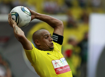 MOSCOW, RUSSIA - AUGUST 14: Roberto Carlos of FC Anzhi Makhachkala in action during the Russian Football League Championship match between FC Spartak Moscow and FC Anzhi Makhachkala at the Luzhniki Stadium on August 14, 2011 in Moscow, Russia.  (Photo by