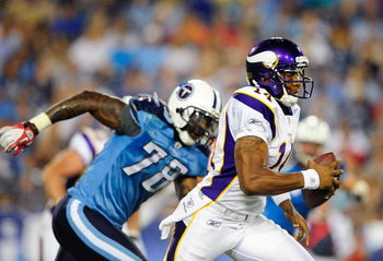 NASHVILLE, TN - AUGUST 13:  Jacob Ford #78 of the Tennessee Titans forces quarterback Joe Webb #14 of the Minnesota Vikings out of the pocket during a preseason exhibition game at LP Field on August 13, 2011 in Nashville, Tennessee.  (Photo by Grant Halve