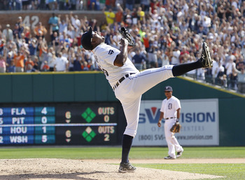 DETROIT, MI - SEPTEMBER 11: Jose Valverde #46 of the Detroit Tigers celebrates a 2-1 win over the Minnesota Twins at Comerica Park on September 11, 2011 in Detroit, Michigan. The save gives Jose Valverde 43 for the year, a new Detroit Tigers record. (Phot