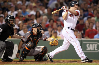 BOSTON, MA - JULY 07:  J.D. Drew #7 of the Boston Red Sox hits an RBI in the fourth inning as Matt Wieters #32 of the Baltimore Orioles catches on July 7, 2011 at Fenway Park in Boston, Massachusetts.  (Photo by Elsa/Getty Images)
