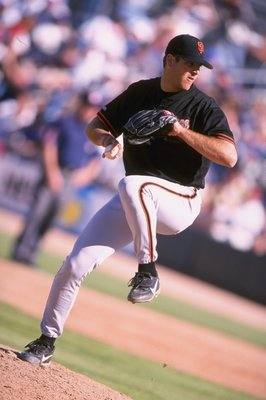 1 Mar 1998:  Steve Soderstom of the San Francisco Giants winds up before delivering a pitch during their 18-1 rout of the Chicago Cubs in spring training action at Hohokam Park in Mesa,  Arizona. Mandatory Credit: Todd Warshaw  /Allsport