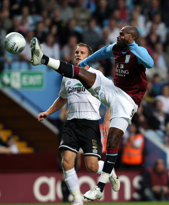 BIRMINGHAM, ENGLAND - AUGUST 23:  Darren Bent of Aston Villa during the Carling Cup second round match between Aston Villa and Hereford United at Villa Park on August 23, 2011 in Birmingham, England.  (Photo by Ross Kinnaird/Getty Images)