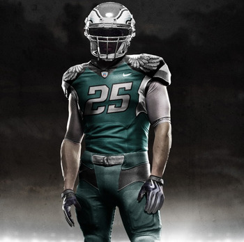 Not the real deal, but a rendering of what someone thought the Nike NFL uniforms could look like for 2012.--Photo courtesy http://phillysportsdaily.com/eagles/2010/11/19/eagles-2012-jersey/