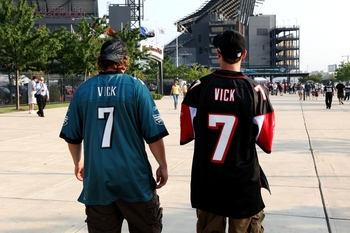 PHILADELPHIA, PA - AUGUST 27:  Fans arrive to Lincoln Financial Field wearing the new Philadelphia Eagles jersey and the old Atlanta Falcons jersey of Michael Vick #7 of the Philadelphia Eagles before the Eagles' preseason game against the Jacksonville Ja