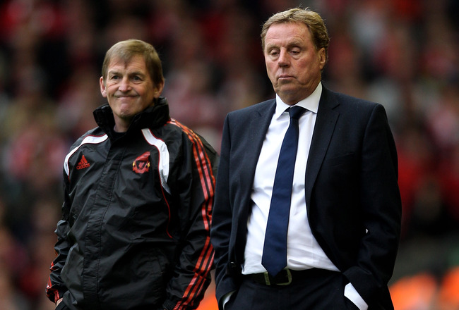 LIVERPOOL, ENGLAND - MAY 15:  Opposing managers Harry Redknapp (R) the Spurs manager and Kenny Dalglish (L) the Liverpool manager look on from the touchline during the Barclays Premier League match between Liverpool and Tottenham Hotspur at Anfield on May