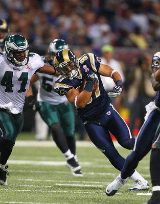 ST. LOUIS - SEPTEMBER 11: Greg Salas #87 of the St. Louis Rams runs against the Philadelphia Eagles at the Edward Jones Dome on September 11, 2011 in St. Louis, Missouri.  (Photo by Dilip Vishwanat/Getty Images)
