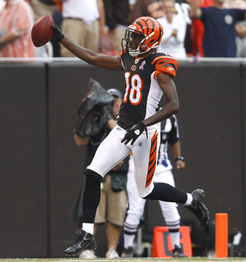 CLEVELAND, OH - SEPTEMBER 11:  Wide receiver A.J. Green #18 of the Cincinnati Bengals scores a touchdown against the Cleveland Browns at Cleveland Browns Stadium on September 11, 2011 in Cleveland, Ohio.  (Photo by Matt Sullivan/Getty Images)