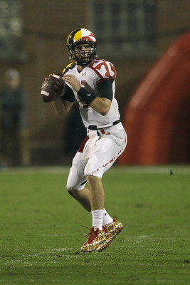 COLLEGE PARK, MD - SEPTEMBER 05:  Quarterback Danny O'Brien #5 of the Maryland Terrapins drops back to pass against the Miami Hurricanes during the second half at Byrd Stadium on September 5, 2011 in College Park, Maryland. Maryland won 32-24.  (Photo by
