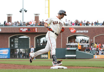 SAN FRANCISCO, CA - SEPTEMBER 14: Carlos Beltran #15 of the San Francisco Giants rounds third base after hitting a home run in the bottom of the first inning to tie the game against the San Diego Padres 1-1 at AT&T Park on September 14, 2011 in San Franci