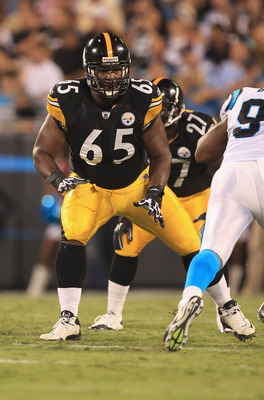 CHARLOTTE, NC - SEPTEMBER 01:  Marcus Gilbert #65 of the Pittsburgh Steelers against the Carolina Panthers during their preseason game at Bank of America Stadium on September 1, 2011 in Charlotte, North Carolina.  (Photo by Streeter Lecka/Getty Images)